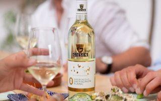 0% Alcohol Free sauvisgnon blanc wine on table